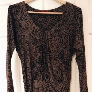 Neutral dark toned midi dress by VELVET.